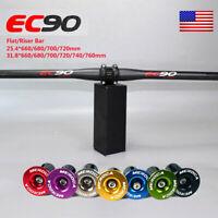 EC90 MTB Carbon Fiber Flat/Riser Bar 31.8/25.4*660-760mm Downhill Handlebar US