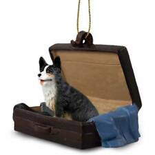 Welsh Corgi Cardigan Traveling Companion Dog Figurine In Suit Case Ornament