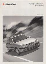Citroen Saxo Specification 2002 UK Market Brochure Forte Desire Furio VTR VTS