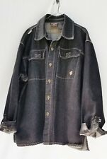 "XL, ROCA WEAR BLACK DENIM COAT JACKET 52"" Chest"