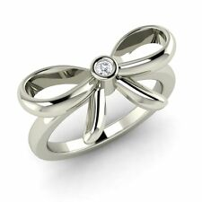 Certified G/SI Diamond Bow Design Ring in Solid 10k White / Yellow / Rose Gold