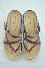 Womens Sz 36 5 6 ECCO Sandals Dk Red Patent Moc Croc Strappy Thong Shoes Living