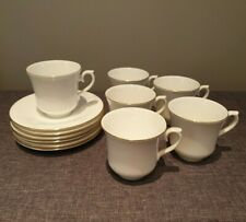 Vintage 1950's Queen Anne Set of 6 Bone China Cups and Saucers (White Gold Rim)