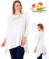 PLUS SZ Boho Keyhole 3/4 Sleeve Sharkbite Ivory Jersey Tunic Shirt Top 1X 2X 3X