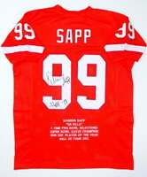 Warren Sapp Autographed Orange Pro Style STAT Jersey W/ HOF- JSA Wit Auth