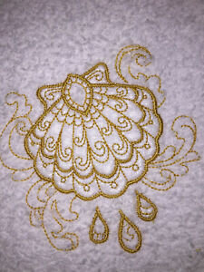 Embroidered Bathroom Hand Towel HS0166 BAPTISMAL CLAM SHELL RELIGION  GOLD