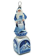 Patricia Breen Checking it Twice Midnight Blue Santa Christmas Holiday Ornament