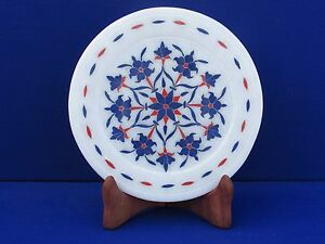 Marble Plate Inlay Work White Stone Pietra Dura Art Handmade Home Decor
