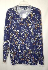 LANDS' END WOMENS NEW FLORAL CARDIGAN SWEATER 1X PLUS 16W 18W SHIRT TOP INDIGO
