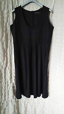 Gudrun Sjoden black linen dress with round pockets and rear buttons size XL