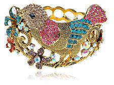 Colorful Crystal Rhinestone Bird Spring Flower Bracelet Bangle Cuff Xmas Gifts