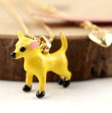 Jewelry Betsey Johnson Enamel Pendant Rhinestone Chihuahua golden chain necklace