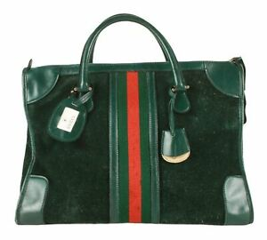 Authentic Gucci Vintage old Gucci dark green Monogram Web handbag