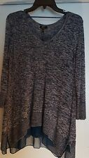 CUPIO NWT $69 Blue Gray And White Knit Blend Blouse Size MD W/Sheer Tulle Hem!