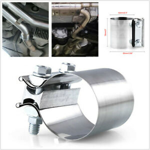 """1PCS Modification Stainless Steel 2.5"""" 63mm Exhaust Pipe Clamp Tail Throat Hoop"""