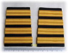 4 Bars Pilot Airline or Merchant Marine Epaulettes Slide Rayon Black Gold Strips