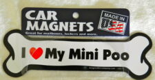 """Dog Magnetic Car Decal - Bone Shaped - I Love My Mini Poo - Made in Usa - 7"""""""