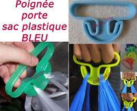 POIGNEE CROCHET PORTE SAC DE COURSE PLASTIQUE 15KGS MAX BLEU ACCROCHE SHOPPING