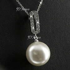 18K GOLD FILLED MADE WITH SWAROVSKI CRYSTAL NECKLACE WHITE PEARL PENDANT