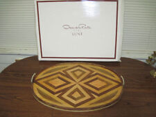 Oscar de La Renta Hand Crafted Kentwood Serving Tray NOS- Large Oval 25&3/8""