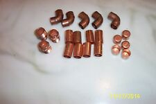 """1/2"""" Copper Fittings 5 elbows 8 couplers 5 end caps 3 pipe adapter Lot of 21"""