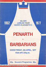 PENARTH v BARBARIANS (Rugby Union Club Match 8.4.1977) Programme (1)