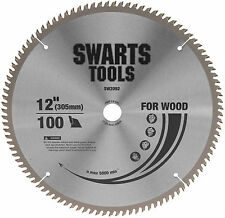 """SWARTS TOOLS 305MM 12"""" 100 TOOTH TUNGSTEN CARBIDE TIPPED SAW BLADE 25.4MM BORE"""