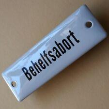 BEHELFS ABORT = Altes Emailschild um 1955 MAKELLOS Klosett Eisenbahn Toilette WC