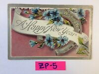 C.1910 Wishing You A Happy New Year Blue Flowers OLD Vintage Postcard ZP-5