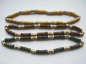Light brown wood & silver coloured patterned bead surf choker necklace