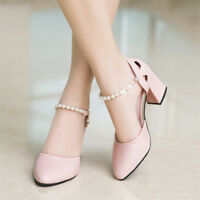 Women's Pointed Toe Chunky Ankle Beaded Pumps Block Mid Heels Mary Jane Shoes Sz