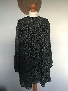 Zara - Black and White Spot Dress - Size L