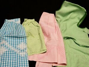 Vintage Skirt Cobbler Apron LOT Chicken Scratch Embroidery Gingham Checks Estate