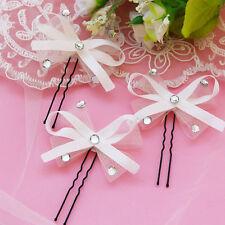 Wedding Party Bridal White Ribbon Bowknot Rhinestone Hair Clip Hairpin Accessory