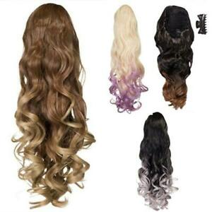 Curly dip dye Ponytail Claw Clip drawstring Ombre Various colours