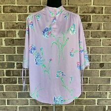 Vintage Allana of New York women's blouse Plus Size 42 floral polyester 1970s