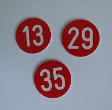 1 Stück PVC Zahlenmarken Ziffernschilder  Kunststoff Ronden Ø 30mm rot / weiß