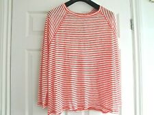 M&S BNWT TOP RED WHITE STRIPE LIGHTWEIGHT SIZE 20 LADIES LONG SLEEVES