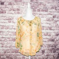 Sundance Catalog Women's 100% Silk BOHO button Blouse Yellow Floral Sz Small