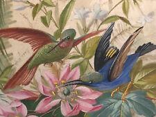 Ecran Pare Feu Peinture sur Soie XIX Oiseau Fleur Antique French Painting 19th