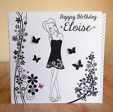 Birthday card for girl/female/ personalised with name. Special handmade girly