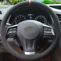 DIY Steering Wheel Cover Black Suede Hand Sewing For Subaru Forester XV 13-15