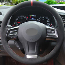 DIY Steering Wheel Cover Black Suede Hand Sewing For Subaru Legacy Outback 2013