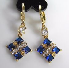 Gold Plated Blue Square Gold Cross Women's/Ladies/Teens Party Dangle Earrings