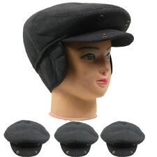 WINTER HAT MEN FLAT HAT CAP WITH EAR WARMER FLAP BLACK