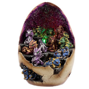 Baby Dragon Purple Geode Crystal Cave Stand FIGURES ONLY, Display Collection LED