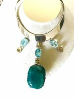 Huge 457.18ct Grandidierite, aquamarine, beryl diamond Platinum, silver necklace