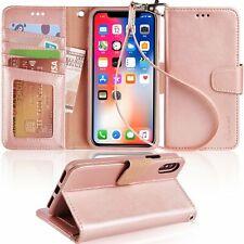 Caso X iPhone Diez w lujo muñeca correas de protección PU billetera de cuero cub