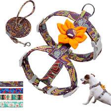 Fancy Floral Pet Dog Harness & Lead Leash Pet Cat Walking Vest Small Medium Dogs