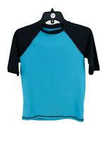 Cat & Jack Boy's Blue Half Sleeve Swim Shirt Rashgaurd Size Large
